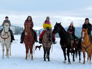 The Fossen Family on horseback
